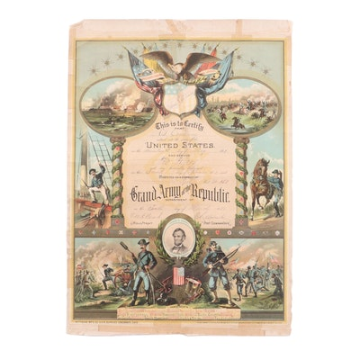 1862 Civil War Discharge Paper and Pettibone GAR Battlefield Muslin Lithograph