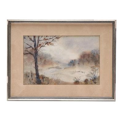 Jane Reichart Mid 20th Century Watercolor Landscape Painting