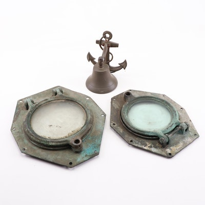 Vintage Brass Ship's Bell and Metal Portholes