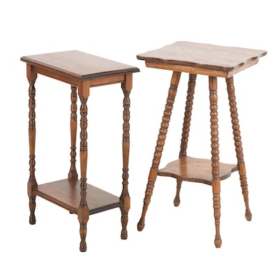 Pair of Wooden Side Tables, Mid 20th Century