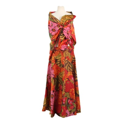 Arnold Scaasi Iridescent Floral Taffeta Skirt and Matching Shawl, 1960s Vintage