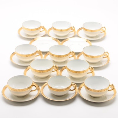 Gérard, Dufraisseix & Abbot Porcelain Teacups and Saucers, Circa 1900