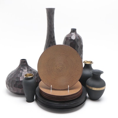 Brass and Resin Vases and Cast Iron Plates by Hisanori Masuda for Kikuchi Hojudo