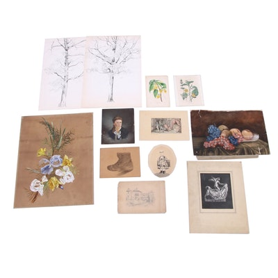 19th Century Botanical Intaglio Prints and Various Paintings and Drawings