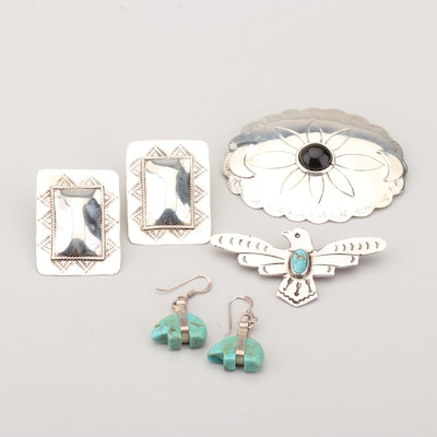 Turquoise And Onyx Sterling Silver Earnings and Brooches