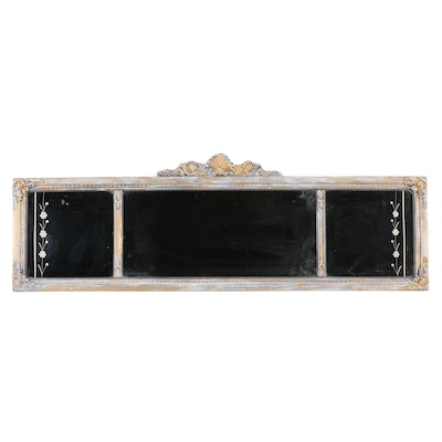 Etched Glass Gold and Silver Painted Overmantel Mirror, Contemporary