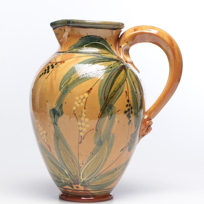 Sud & Co French Terracotta  Pitcher with Slip Trailed Leaf and Berry Motif