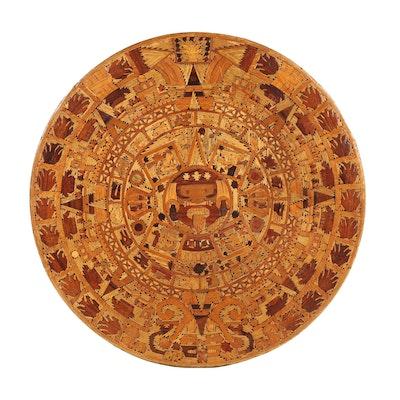 Inlaid Wood Mayan Calendar Wall Hanging