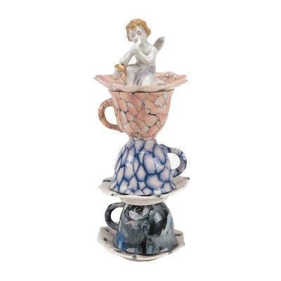 Benzle Porcelain Angel and Teacup Whimsy