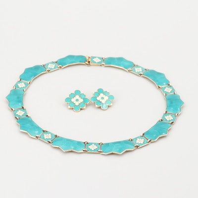 Norwegian Sterling Silver Yellow Gold-Plated Enameled Necklace and Earrings