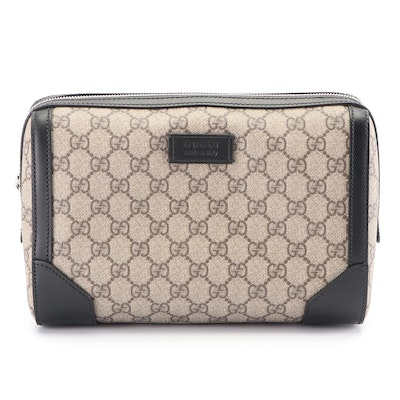 Gucci GG Canvas and Black Leather Cosmetic Bag