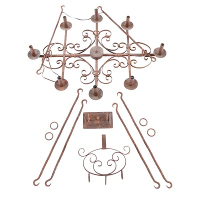 Spanish Style Oxidized Copper Finish Chandelier, Contemporary