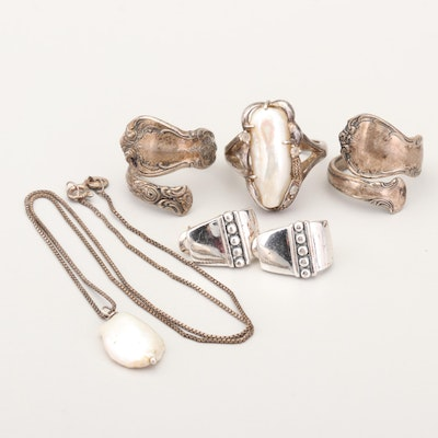 Sterling Silver Rings, Earrings and Necklace
