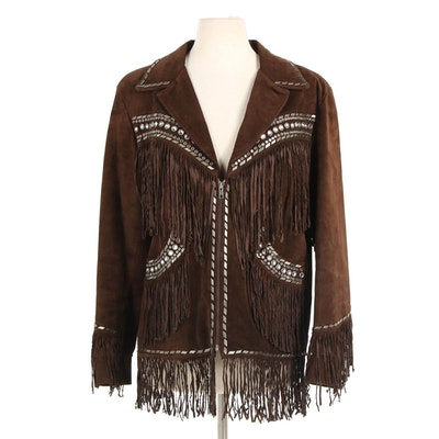 Double D Ranch of Texas Studded Brown Suede Motorcycle Jacket with Fringe