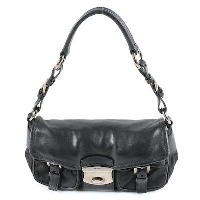 Prada Black Nylon Tessuto and Leather Double Pocket Demi Bag
