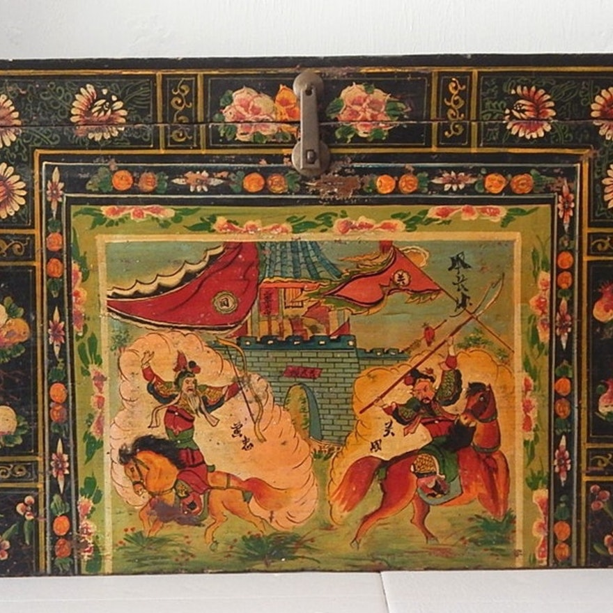 Chinese Shanxi Province Hand Painted Wooden Trunk, 19th Century