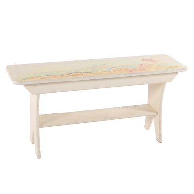 Jean Oates for Ole Plantation, Paint-Decorated Bench