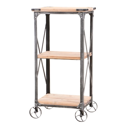 Three Tier Wood and Metal Bar Table, Contemporary
