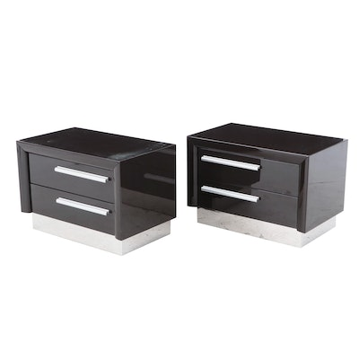 Pair of Contemporary Lacquered Ebonized Wood Chests of Drawers
