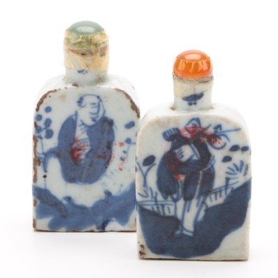Chinese Blue and White Ceramic Snuff Bottles with Bowenite and Agate Lids