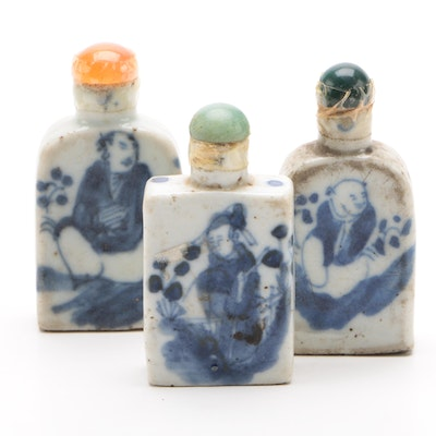 Chinese Blue and White Ceramic Snuff Bottles with Bowenite and Agate Tops