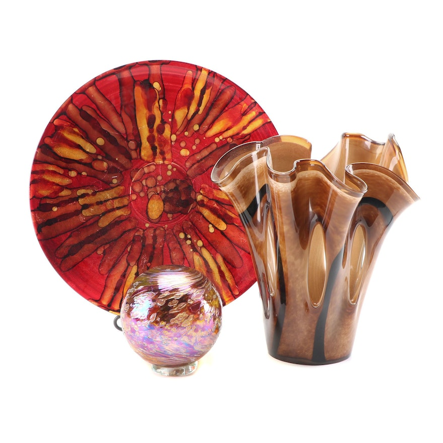 Hand Blown Art Glass Vase and Other Decor