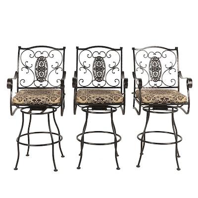 Three Outdoor Patio Swivel Barstools