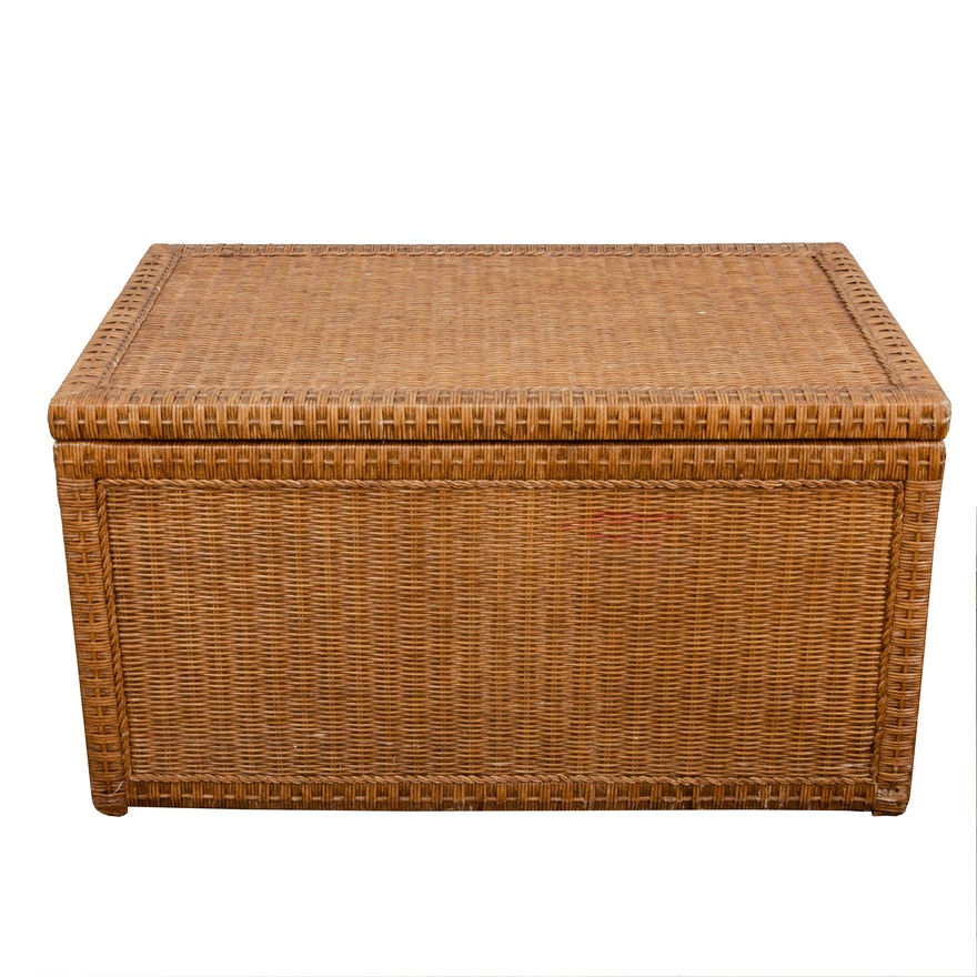 Contemporary Wicker Lift-Lid Storage Chest
