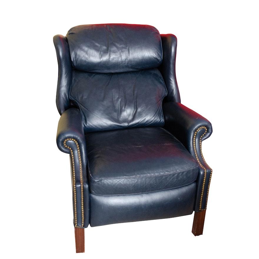 Bradington Young, Navy Blue Leather Reclining Armchair
