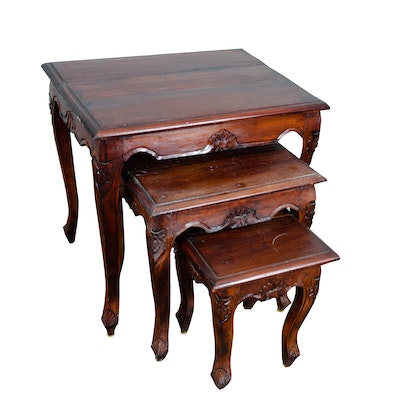 Contemporary Carved Wooden Louis XV/French Provincial Style Nesting Tables