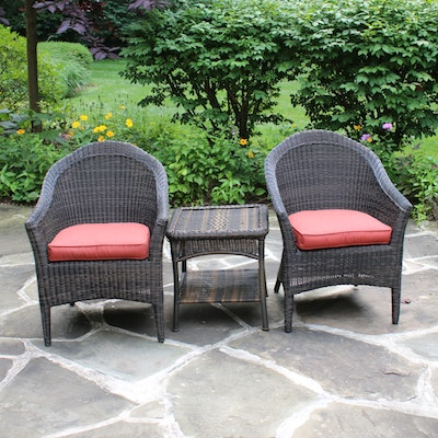 Wicker Patio Chairs with Cushions and Side Table