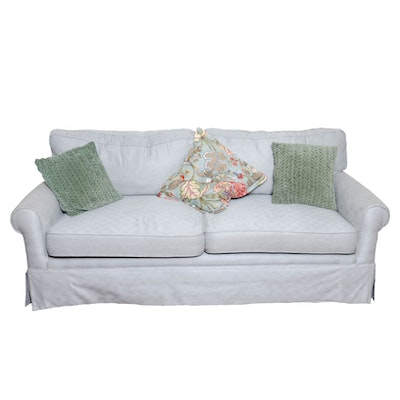 Pale Blue Upholstered Tweed Sofa with Pillows, Contemporary