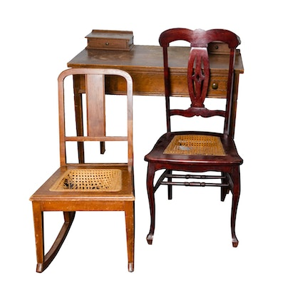 Writing Desk and Cane Chairs, Early 20th Century