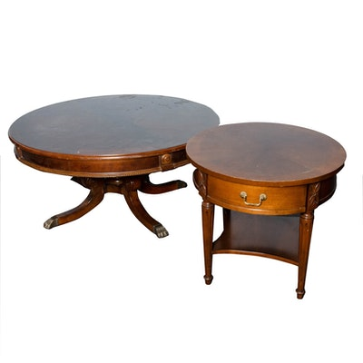 Duncan Phyfe Style Wooden Round Coffee Table and Side Table, Mid-20th Century
