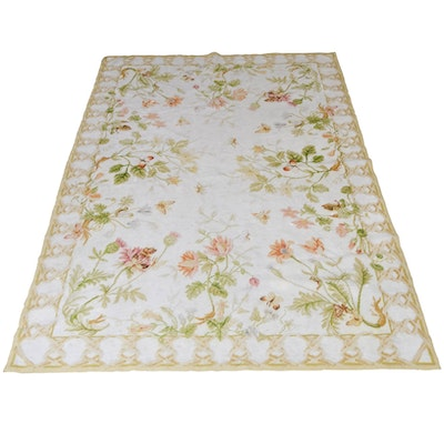 Handwoven Needlepoint Style Floral Wool Rug