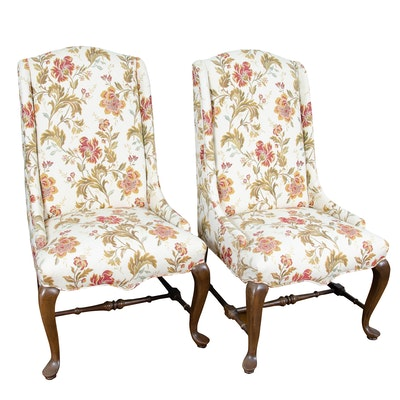 Pair of Queen Anne Style Floral-Upholstered Chairs, 20th Century