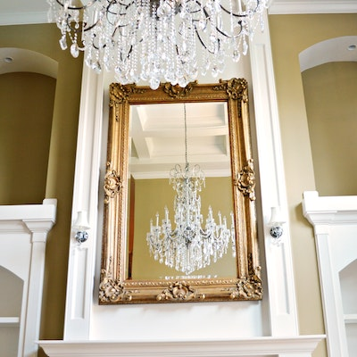 Gilt Rectangular Beveled Wall Mirror, Contemporary