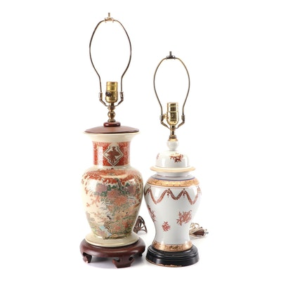 Japanese Satsuma and Chinese Converted Porcelain Vase Lamps