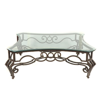 Metal and Glass Top Coffee Table, Contemporary