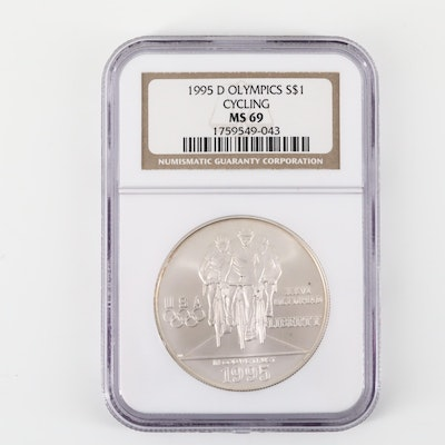 NGC Graded 1995-D Olympics Cycling Commemorative Silver Dollar