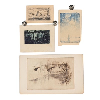 """Robert Whitmore Landscape Etchings including """"Breeze"""""""