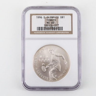 NGC Graded 1996-D Olympics Tennis Commemorative Silver Dollar