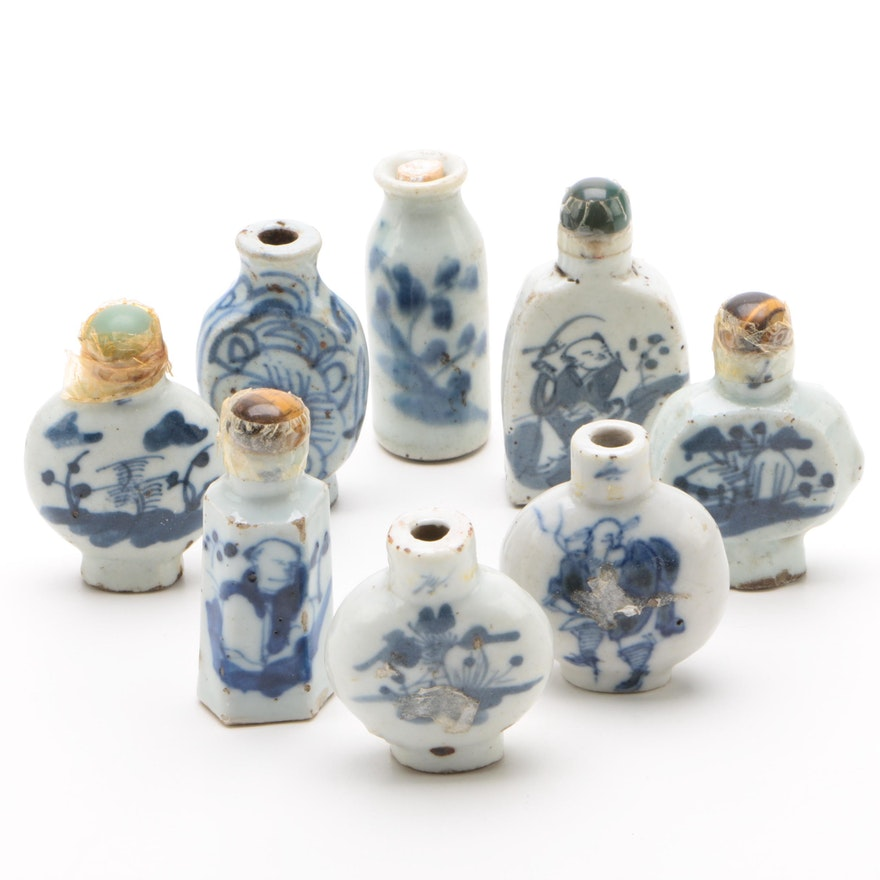 Chinese Blue and White Ceramic Snuff Bottles