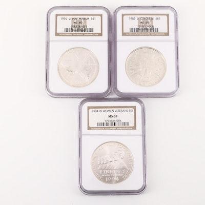 Three NGC Graded U.S. Commemorative Silver Dollars Including 1994-W P.O.W.