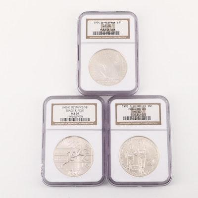 Three NGC Graded U.S. Commemorative Silver Dollars