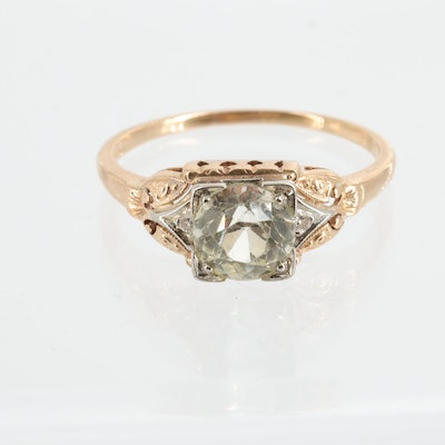 Vintage Jabel 14K Gold Corundum and Diamond Ring with 18K White Gold Accents