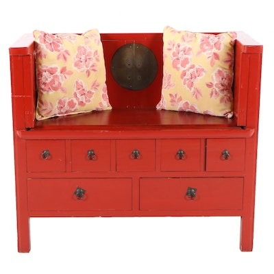 Contemporary Chinese Style Painted Bench with Storage Drawers