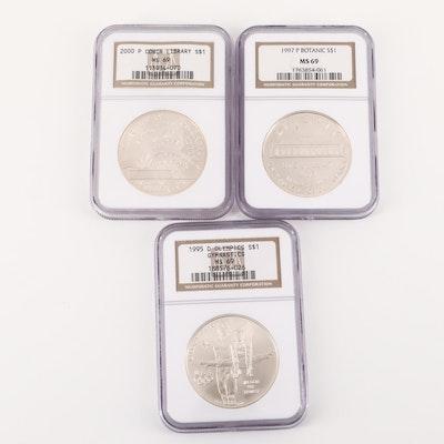 Three NGC Graded U.S. Commemorative Silver Dollars Including 1997-P Botanical