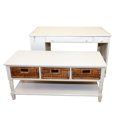 Contemporary Whitewashed Pedestal Desk and Storage Table