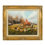 Early 20th Century Oil Painting of Fox Hunting Scene
